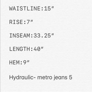Hydraulic Jeans - 🚫SOLD🚫Hydraulic Jeans Super Low Metro Distressed